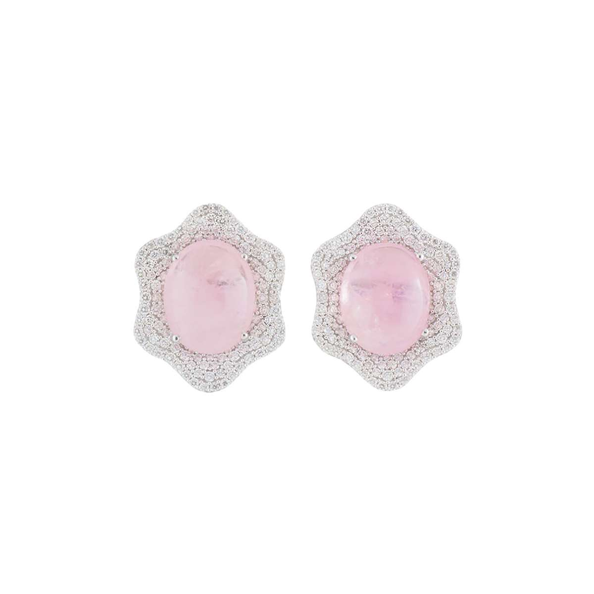 White Gold Diamond and Kunzite Earrings